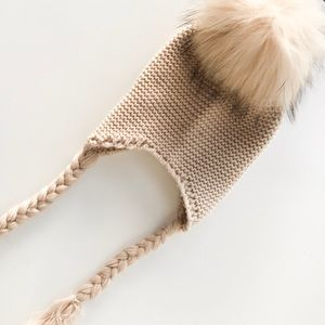 Toddler Knit hat with real raccoon fur Pom - New